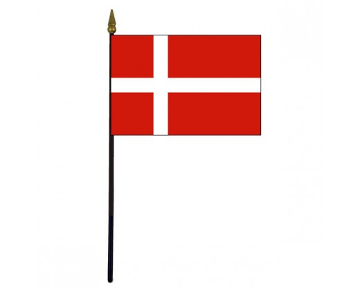 Denmark Stick Flag - 4x6""