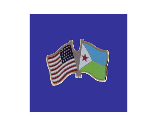 Djibouti Lapel Pin (Double Waving Flag w/USA)