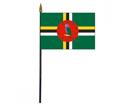 "Dominica Stick Flag - 4x6"""