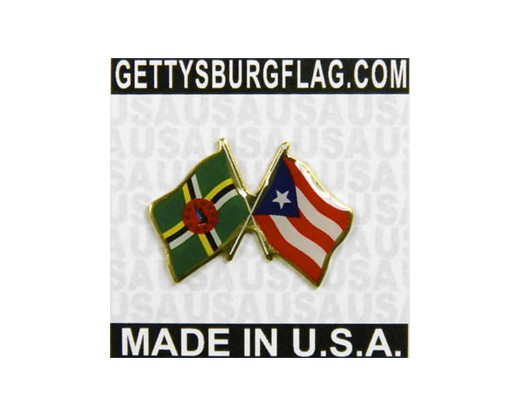 Dominica & Puerto Rico Lapel Pin (Double Waving Flags)