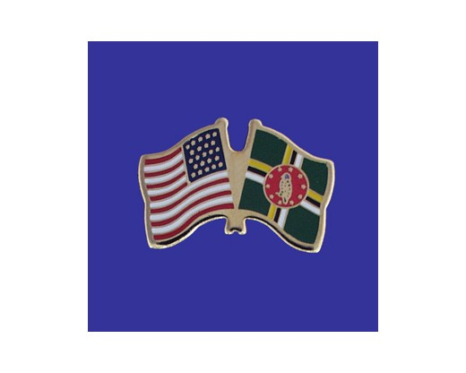 Dominica Lapel Pin (Double Waving Flag w/USA)