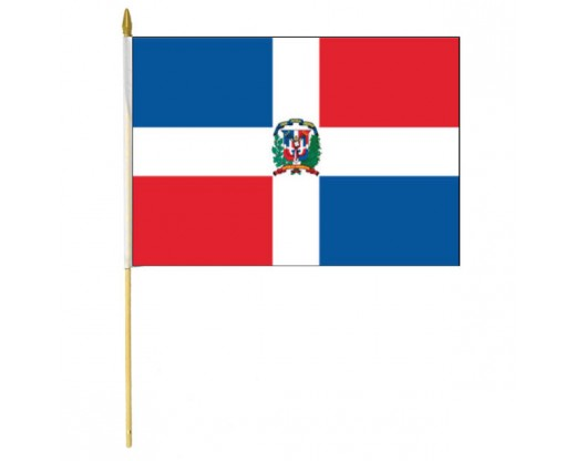 Dominican Republic Stick Flag (with Seal)
