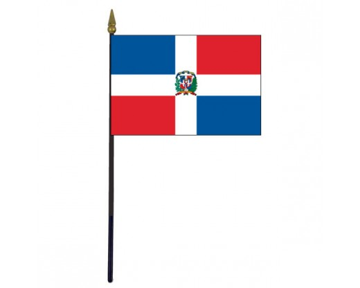 Dominican Republic Stick Flag - 4x6""