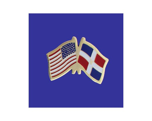 Dominican Republic Lapel Pin (Double Waving Flag w/USA)