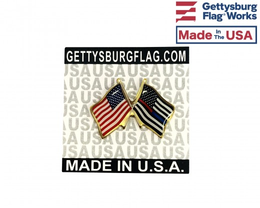 Thin Red / Blue Line Lapel Pin (Double waving flag w/USA)