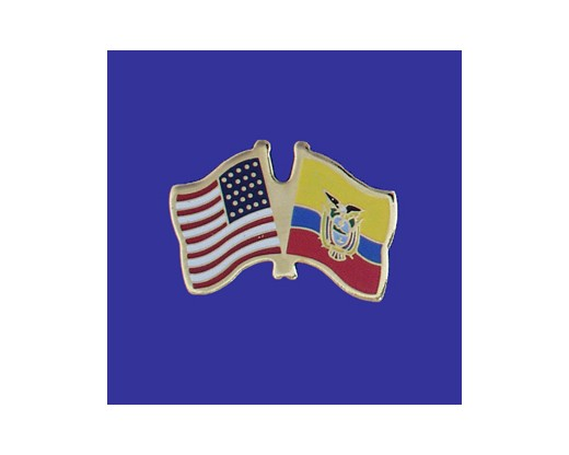 Ecuador (seal design) Lapel Pin (Double Waving Flag w/USA) (Imported - Close Out)