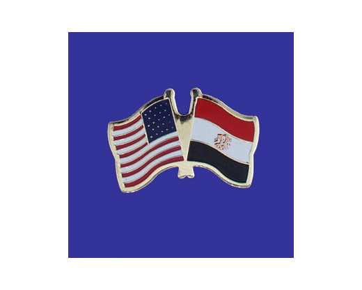 Egypt Lapel Pin (Double Waving Flag w/USA)