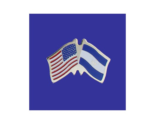 El Salvador Lapel Pin (Double Waving Flag w/USA)