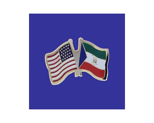 Equatorial Guinea Lapel Pin (Double Waving Flag w/USA)