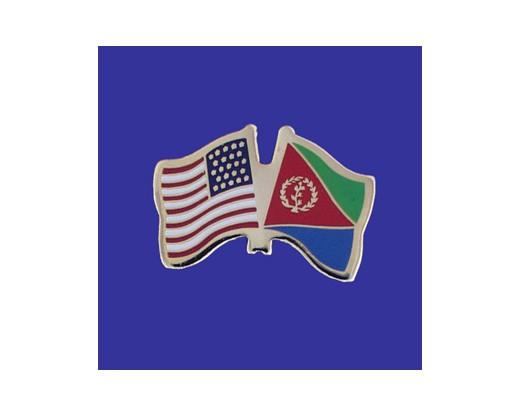 Eritrea Lapel Pin (Double Waving Flag w/USA)