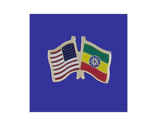 Ethiopia Lapel Pin (Double Waving Flag w/USA)