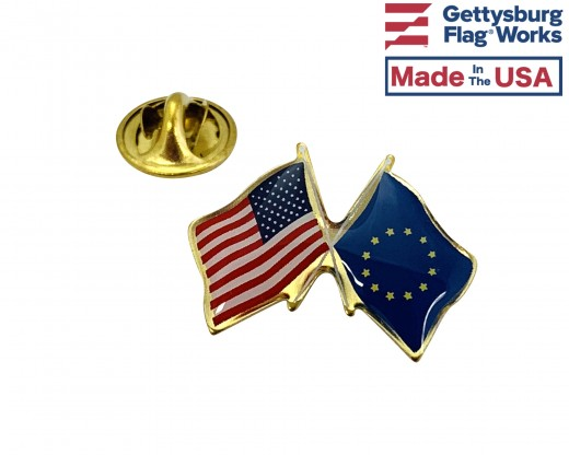 Europe Lapel Pin (Double Waving Flag w/USA)