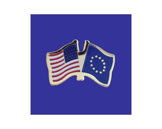Europe Lapel Pin (Double Waving Flag w/USA)