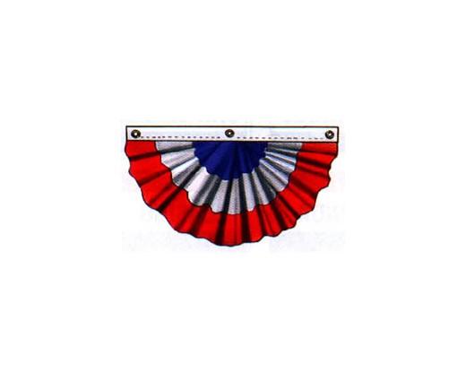 Patriotic Pleated Fan (Nylon, 3 Sewn Stripes)