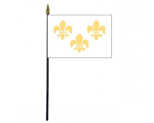 "Fleur-de-lis Stick Flag (White 3) - 4x6"""
