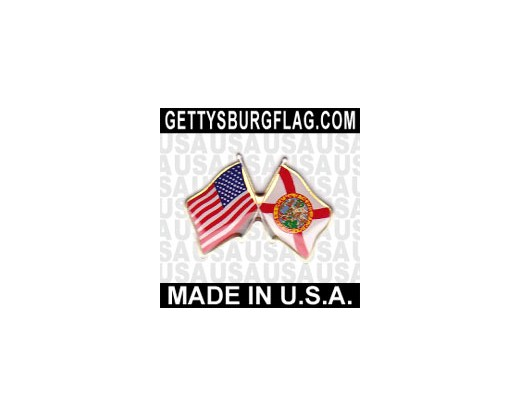 Florida State Flag Lapel Pin (Double Waving Flag w/USA)