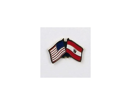 French Polynesia Lapel Pin (Double Waving Flag w/USA) (Imported - Close Out)