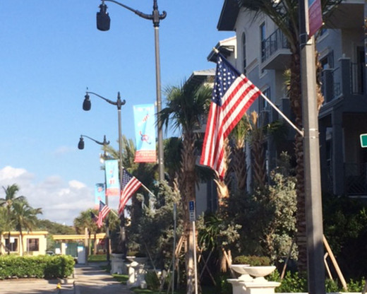 Flags line the streets in LAUDERDALE-BY-THE-SEA