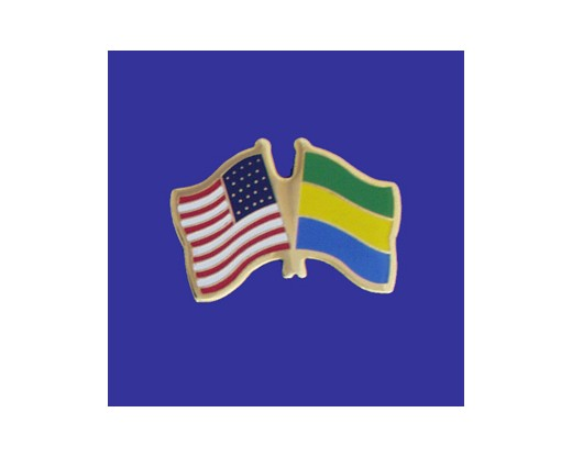Gabon Lapel Pin (Double Waving Flag w/USA)