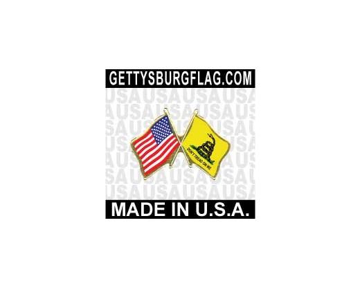 Gadsden Lapel Pin (Double Waving Flag w/USA)