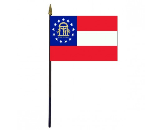Georgia State Stick Flag - 4x6""
