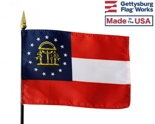 "Georgia State Stick Flag - 4x6"""
