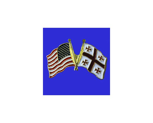 Georgia Republic Lapel Pin (Double Waving Flag w/USA)