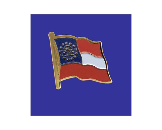 Georgia State Flag (new design) Lapel Pin (Single Waving Flag) (Imported - Close Out)