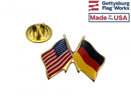 Germany Lapel Pin (Double Waving Flag w/USA)