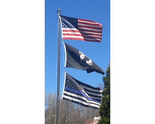 Thin Blue Line Flag with POW and American