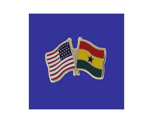 Ghana Lapel Pin (Double Waving Flag w/USA)
