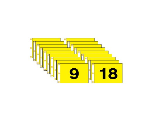 Golf Flag Set 1-18 (Black on Yellow) - 14x20""