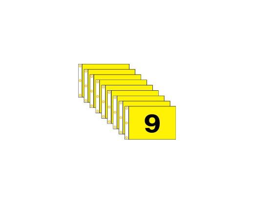 "Golf Flag Set 1-9,  (Black on Yellow) - 14x20"""