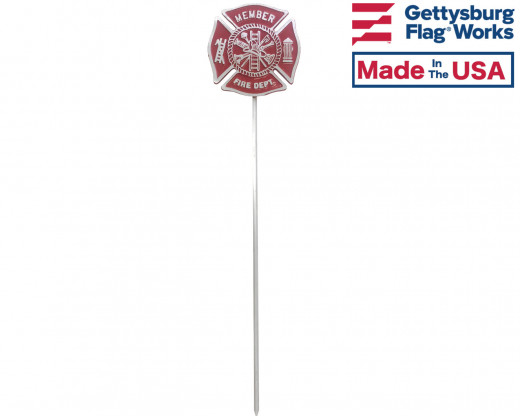 Fireman Aluminum Grave Marker on staff