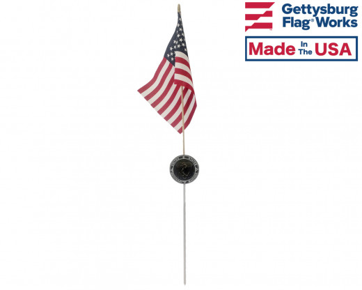 Merchant Marine Aluminum Grave Marker with flag