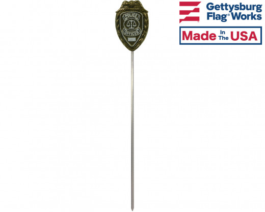 Police Officer Aluminum Grave Marker on rod