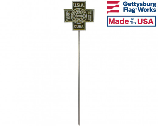 Spanish American War Aluminum Grave Marker on rod