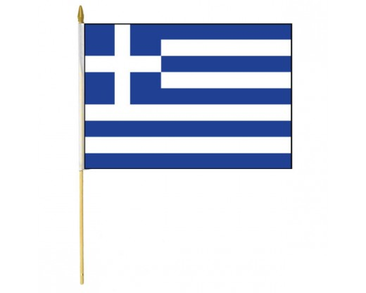 Greece Stick Flag - 12x18""