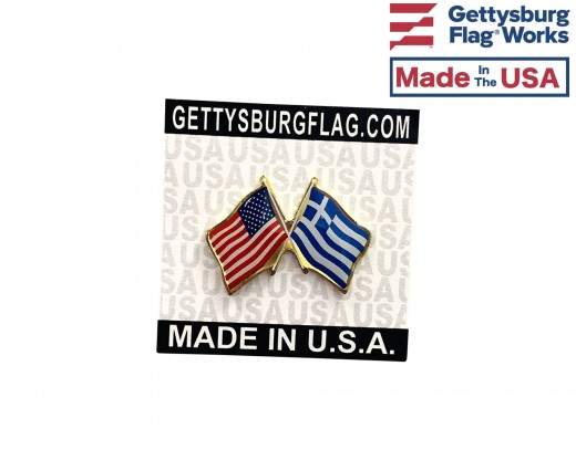 Greece Lapel Pin (Double Waving Flag w/USA)