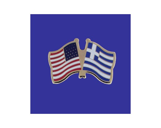 Greece Lapel Pin (Double Waving Flag w/USA)