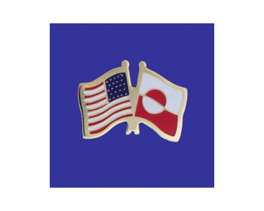 Greenland Lapel Pin (Double Waving Flag w/USA)