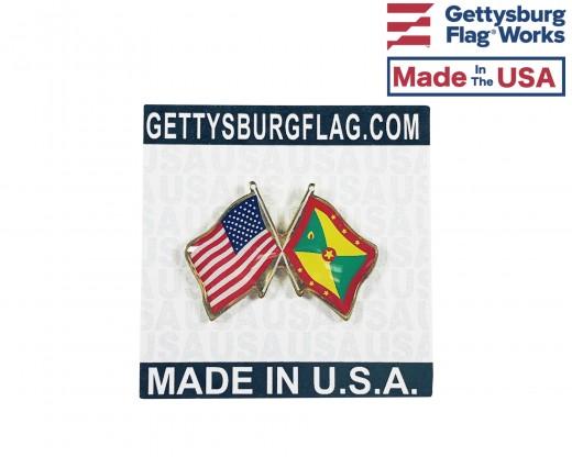 Grenada Lapel Pin (Double Waving Flag w/USA)