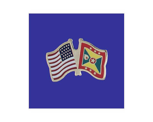 Grenada Lapel Pin (Double Waving Flag w/USA)