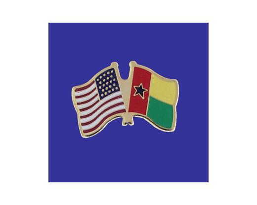 Guinea Bissau Lapel Pin (Double Waving Flag w/USA)
