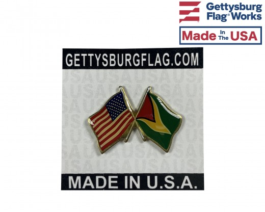 Guyana Lapel Pin (Double Waving Flag w/USA)