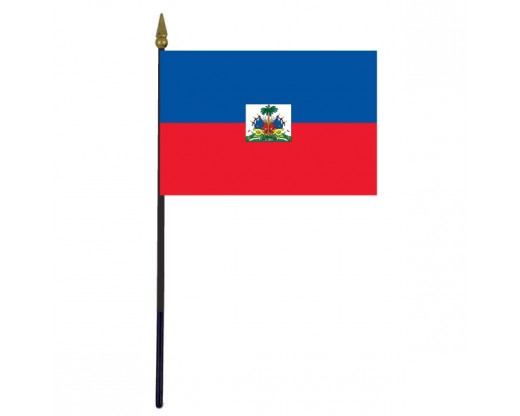 Haiti Stick Flag (with seal) - 4x6""