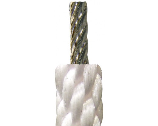 Flagpole Halyard, Stainless Steel Wire Center White