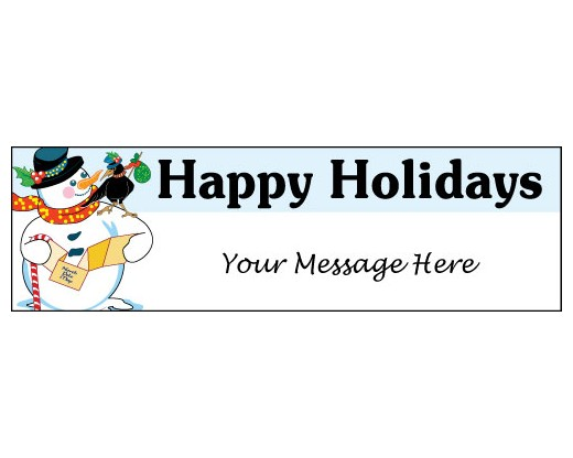 Happy Holidays Snowman Banner