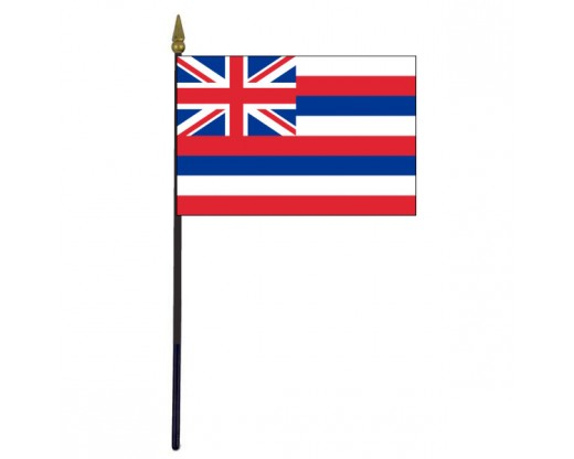 Hawaii State Stick Flag - 4x6""