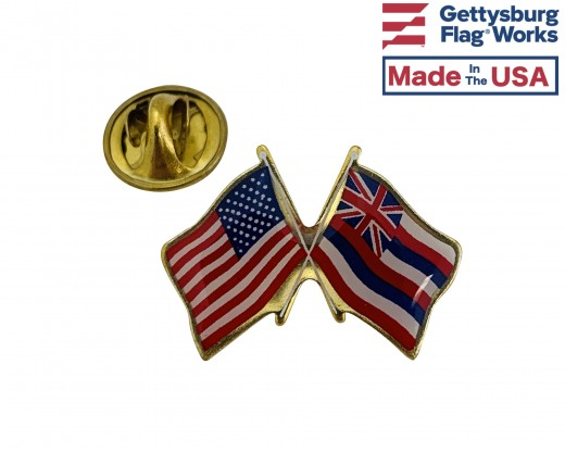 Hawaii State Flag Lapel Pin (Double Waving Flag w/USA)